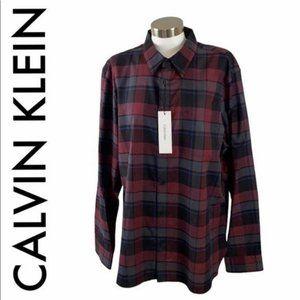CALVIN KLEIN NWT MEN'S RED BLUE BLACK SHIRT XL